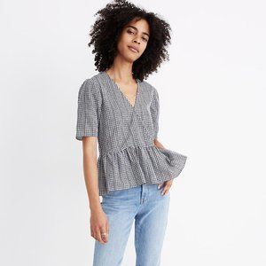 Madewell Crossover Peplum Top in Gingham Check
